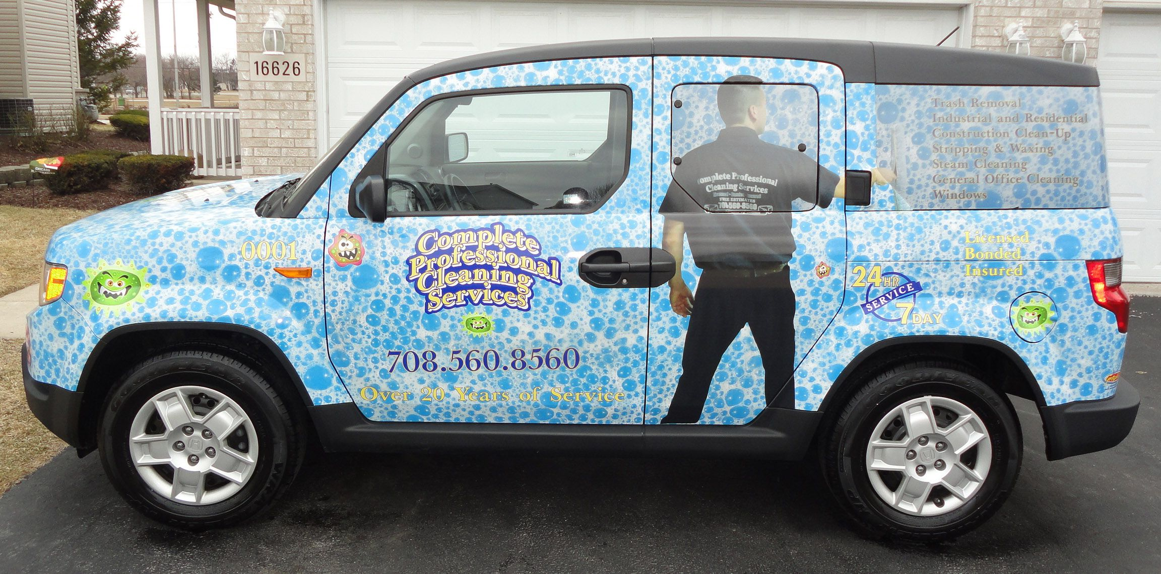 Full Vehicle Wrap Done For Complete Professional Cleaning Service By M O Graphics New Lenox Il Vinyl Wrap Vinyl Garage Flooring Vinyl Roofing