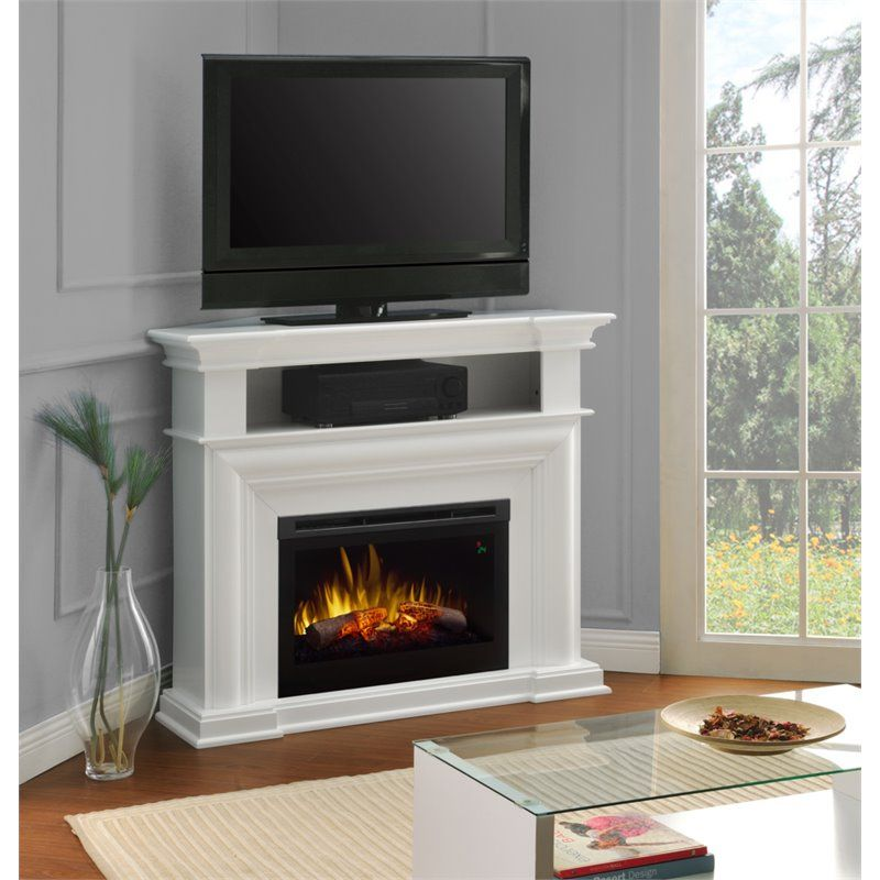 Dimplex Colleen Corner Tv Stand With Electric Fireplace In White Corner Fireplace Tv Stand Corner Electric Fireplace Entertainment Stand With Fireplace