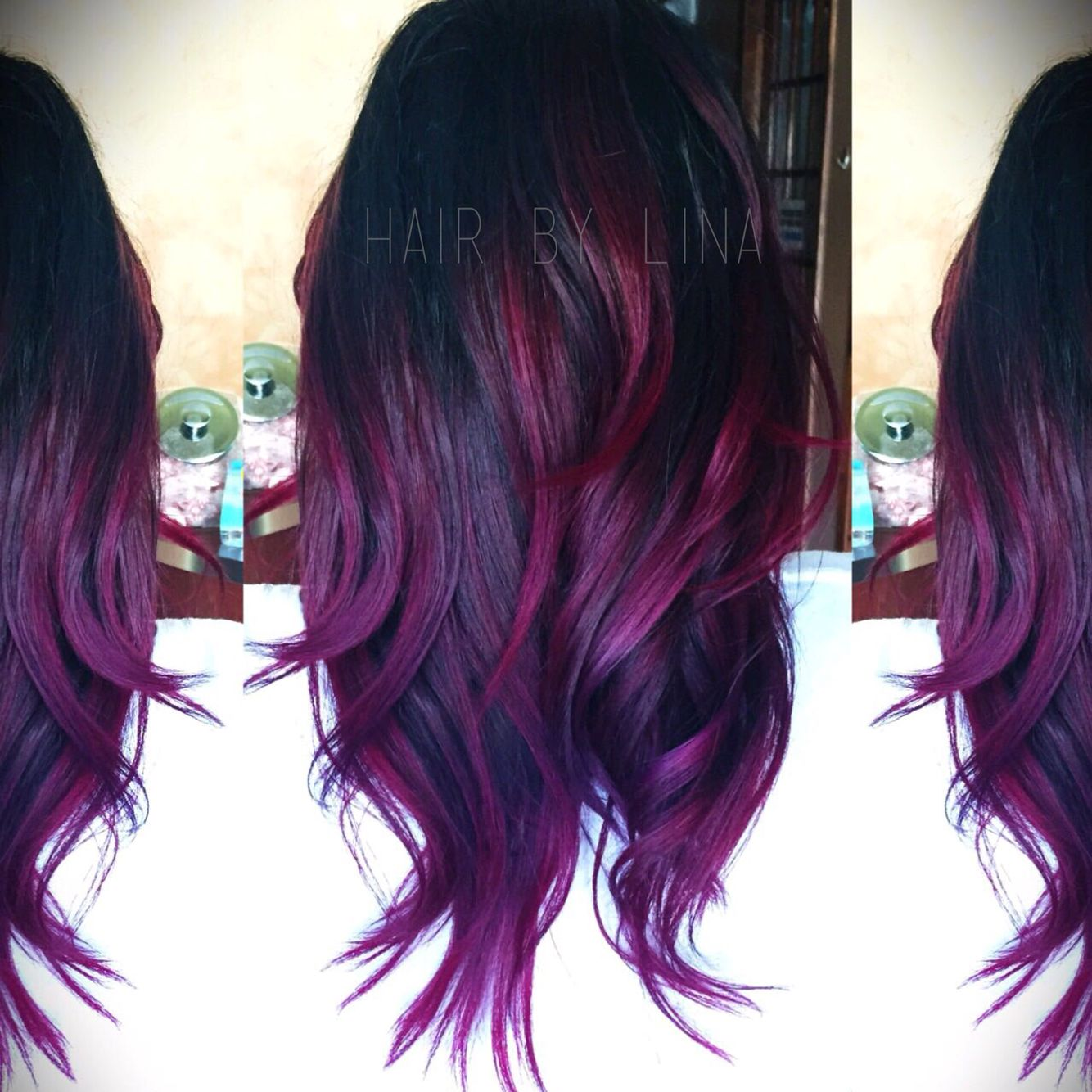 Picture of black and magenta balayage hair - Purple And Magenta Balayage Ombr