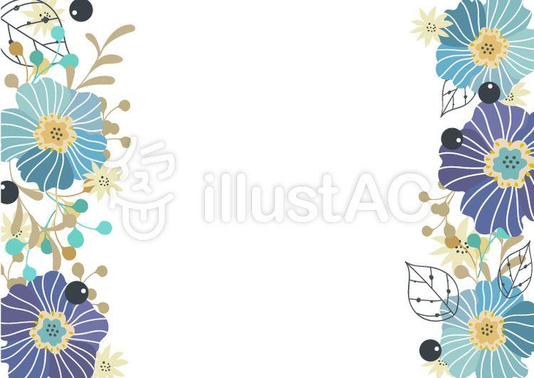 フリー素材青い花飾りのおしゃれなカード フレーム 花 夏