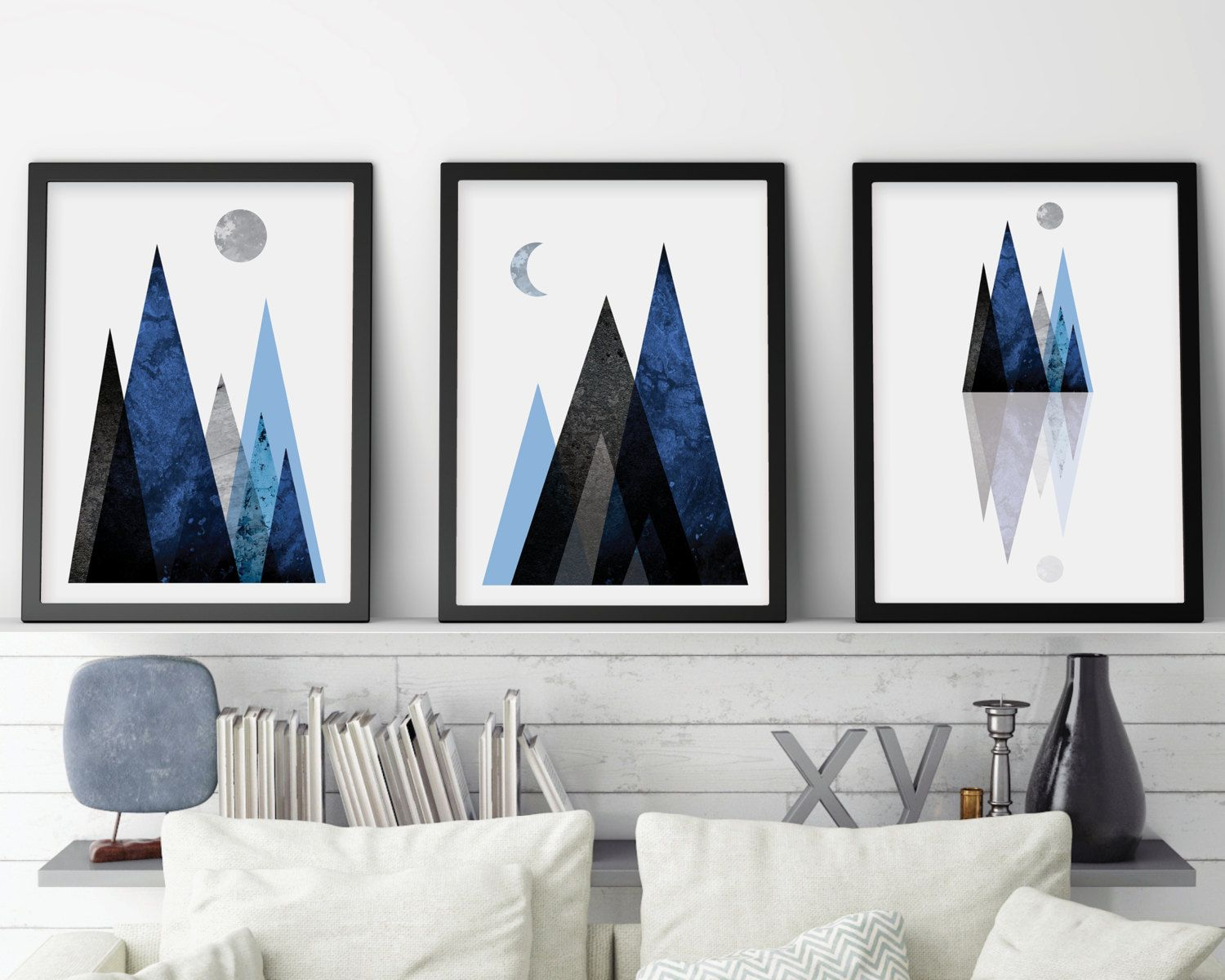 Downloadable Printable Mountain Print Set Scandinavian Print Nordic Art Mountains Scandinavian Art Set Print Set Of 3 Navy Wall Art Scandinavian Wall Art Scandinavian Print Scandinavian Art