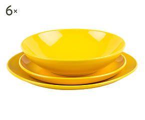 servizio di piatti in gres giallo 18 pezzi