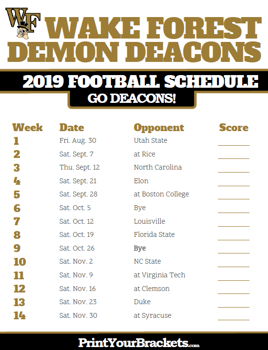 Wake Forest 2019 Football Schedule Printable 2019 Wake Forest Demon Deacons Football Schedule