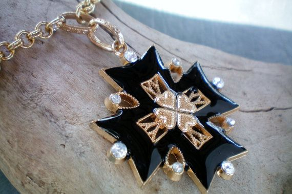 Black Maltese Cross Necklace Recycled By Outsiderartjewelry