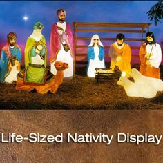 Christmas Outdoor Lighted Blow Mold Life Size Nativity Figures