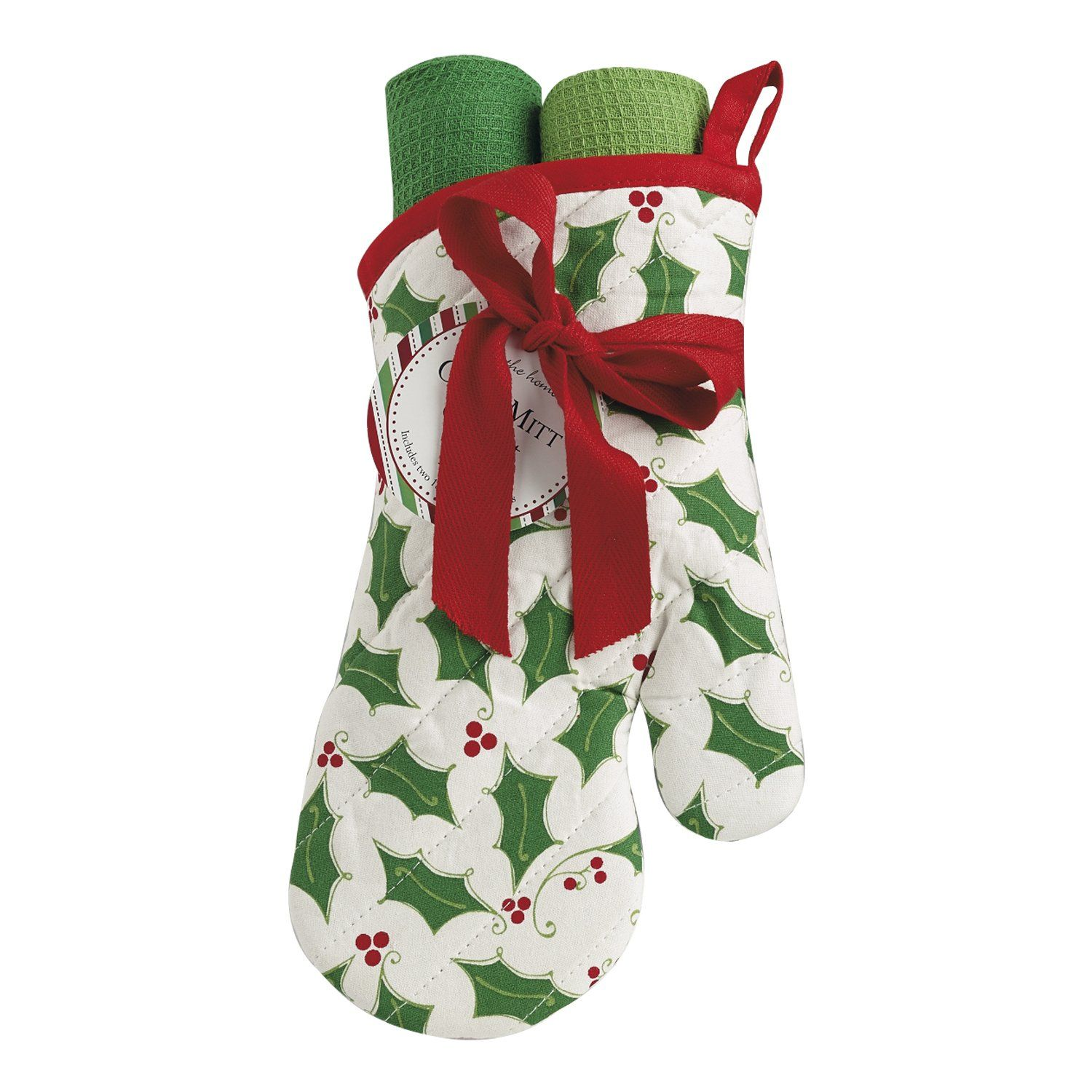 DII Cotton Christmas Holiday Oven Mitt and Dish Towels Gift Set