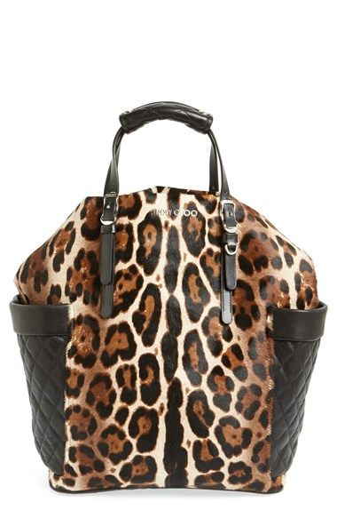 """Free shipping and returns on Jimmy Choo 'Blare' Leopard Print Calf Hair Tote at Nordstrom.com. <p><B STYLE=""""COLOR:#990000"""">Pre-order this style today! Add to Shopping Bag to view approximate ship date. You'll be charged only when your item ships.</b></p><br>Quilted leather side pockets frame a vertical tote presented in gorgeous, leopard-spotted calf hair. Top handles and an optional shoulder strap offer convenient carrying options."""