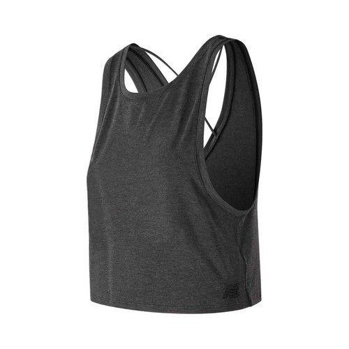 0d954f14b97 Women's New Balance WT83145 Transform Two Way Crop Tank - Black Heather  Sleeveless Tops