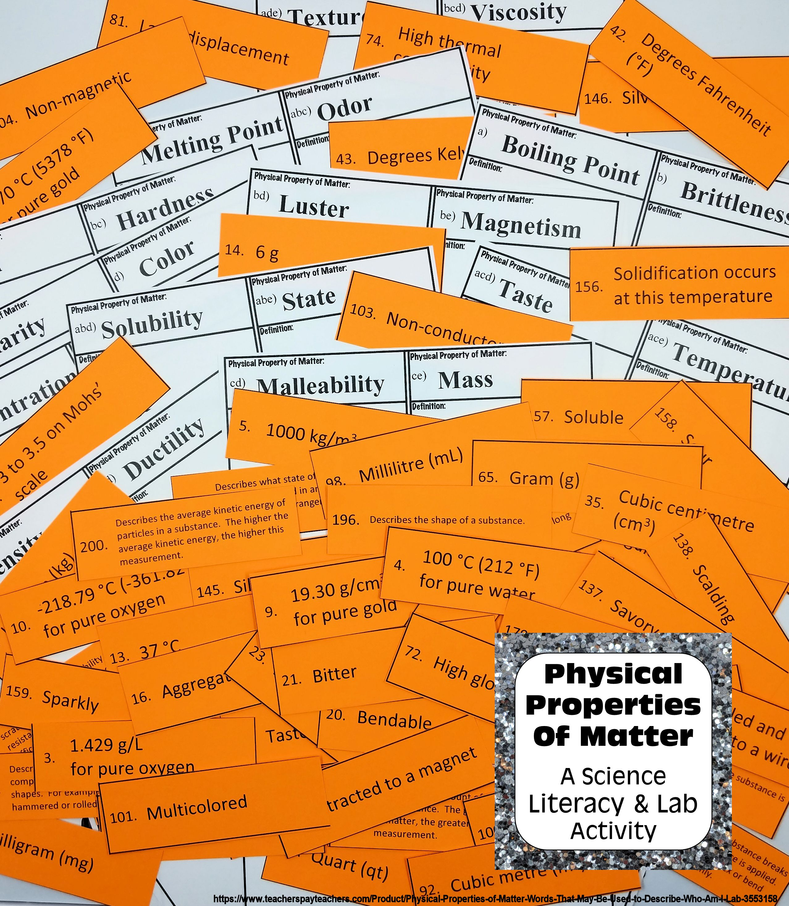 Physical Properties Of Matter Words To Describe Them Card