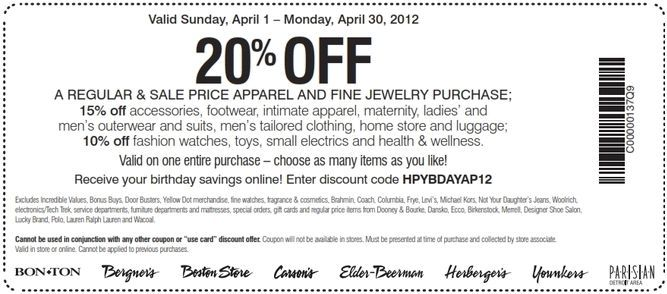 photograph about Bon Ton Printable Coupon named Conserve 20% at Bon-Whole lot! #coupon CheckPoints Promotions