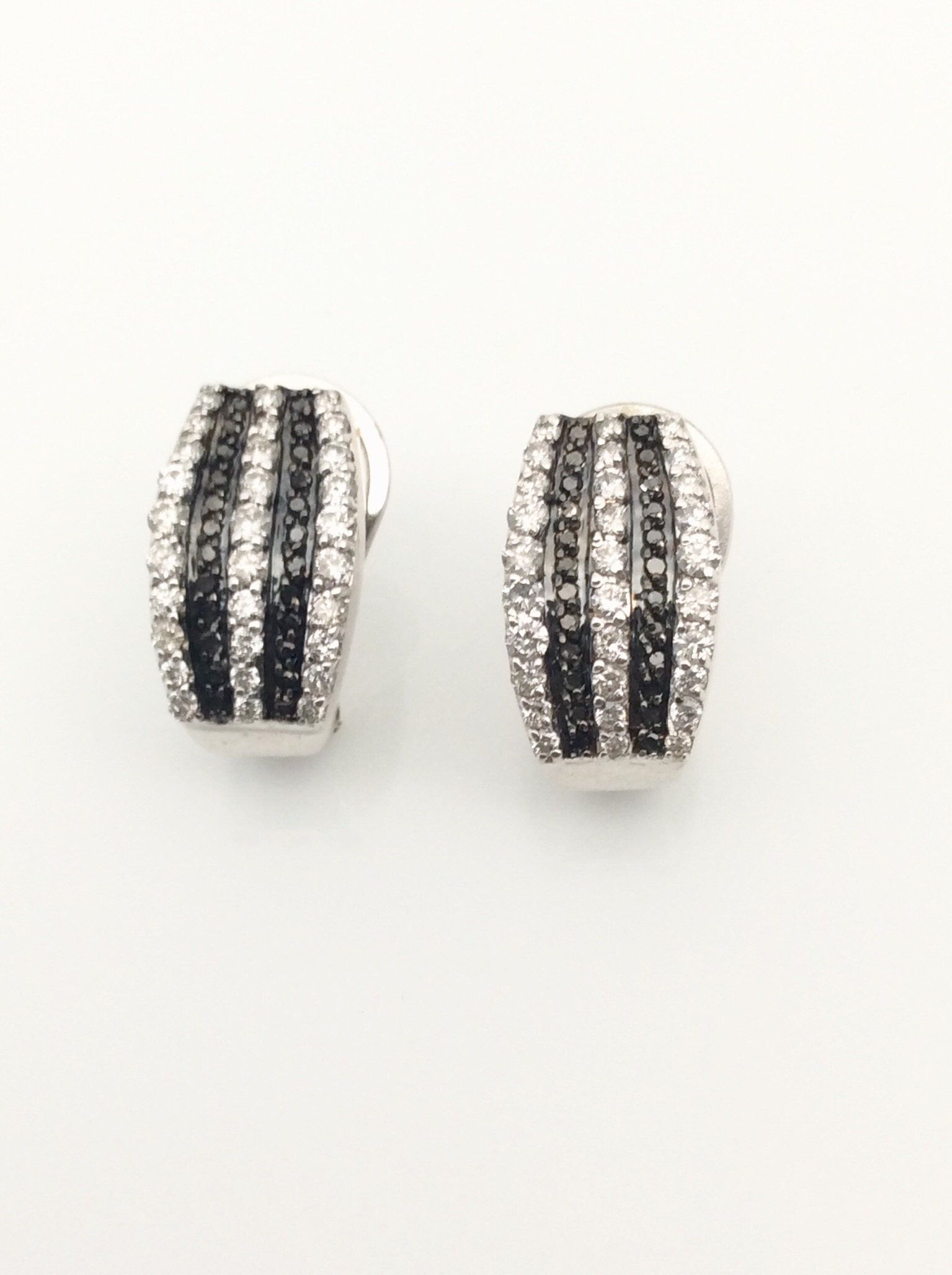 Black And White Gold Diamond Earrings Diamond Huggie Earrings With
