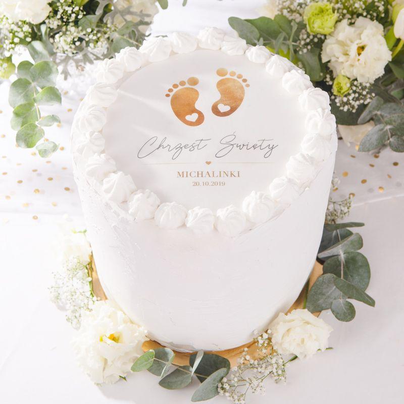 Oplatek Personalizowany Na Tort Zlote Stopki Pregnant Cake Baby Shower Cakes Girl Baptism Cake Boy