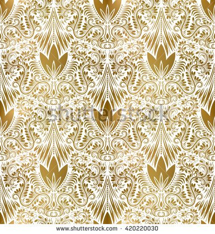Golden White Vintage Seamless Pattern Gold Royal Classic Baroque Wallpaper Arabic Background Ornament Background Vintage Wallpaper Prints White and gold wallpaper repeating