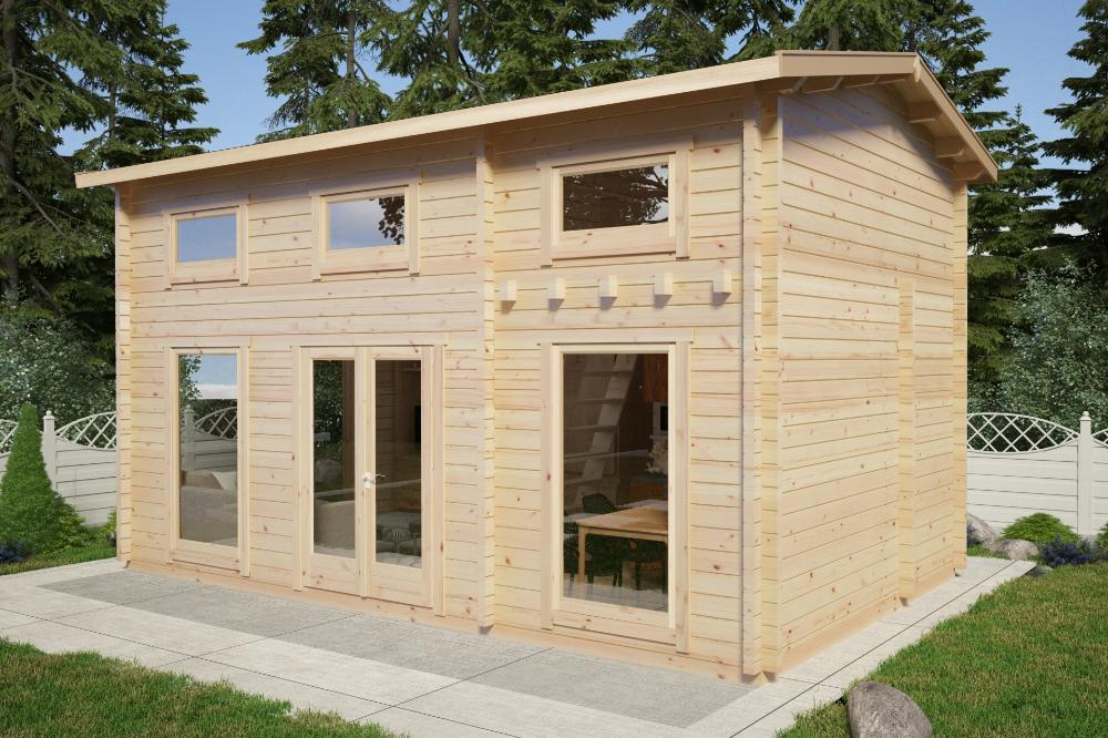 Casa De Madera Con Altillo Sweden B 30m 6x4m 70mm Schlafboden Blockhaus Haus
