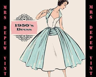 Vintage Sewing Pattern 1950's Cocktail Dress in Any Size - PLUS Size Included - Depew 7315 -INSTANT DOWNLOAD-