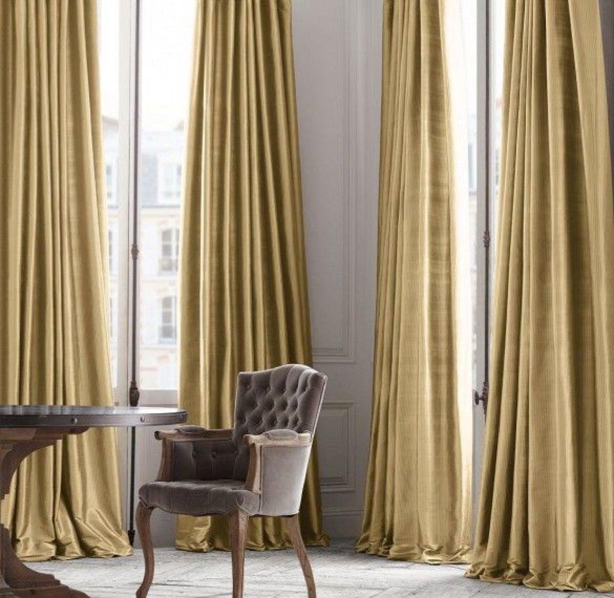Satin Curtain Panels And Cushions Silk Curtain Panels Set Of