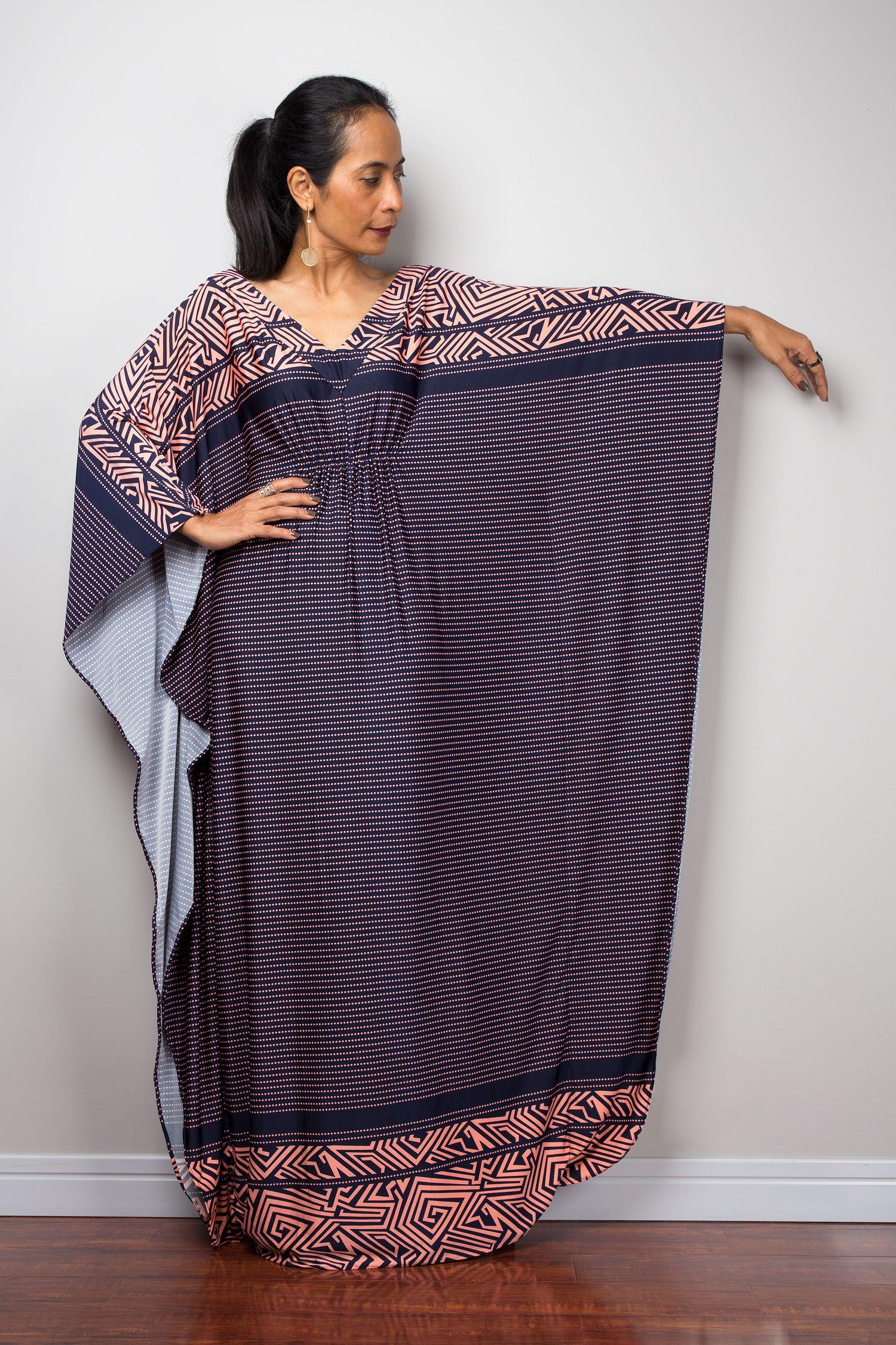 887c99fd00d1 Oversized Blue and Pink Kaftan Dress - Frock Dress - Loose fit Maxi ...