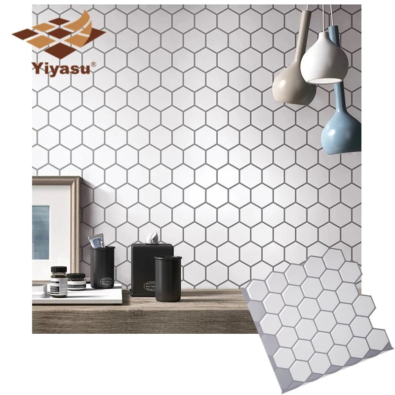 Hexagon Off White Vinyl Sticker Self Adhesive Wallpaper 3d Peel And Stick Square Wall Tiles For Kitchen And Bathroom Backsplash Vinyl Wall Tiles Wall Tiles Kitchen Wall Tiles