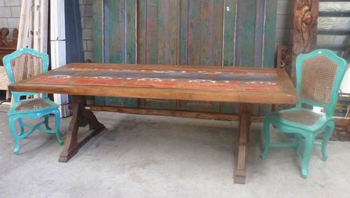 Bali Furniture Recycled Timber Truck Railing Wood 10 Seater