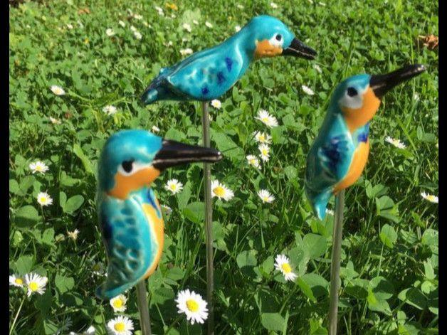 blumentopfe fur den garten, drei kleine eisvögelchen als stecker für den garten oder die, Design ideen