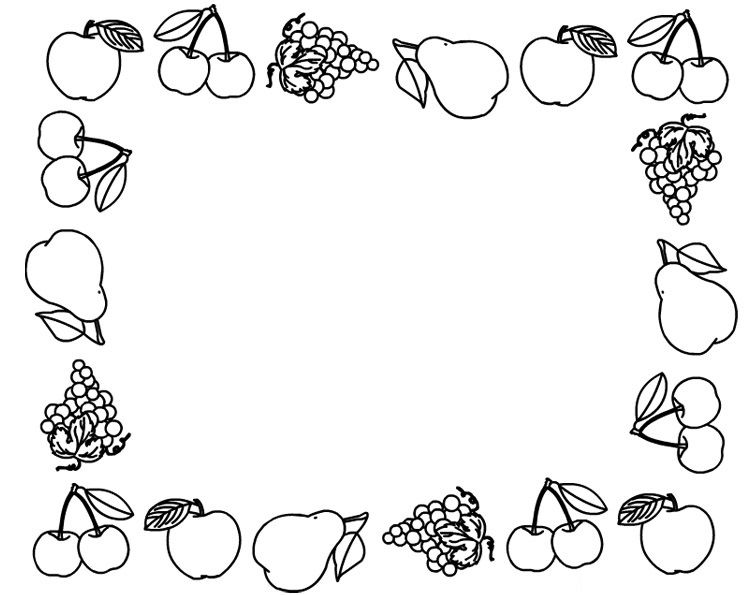 Fruit Frame Coloring Page Nş Fruit Coloring Pages Coloring