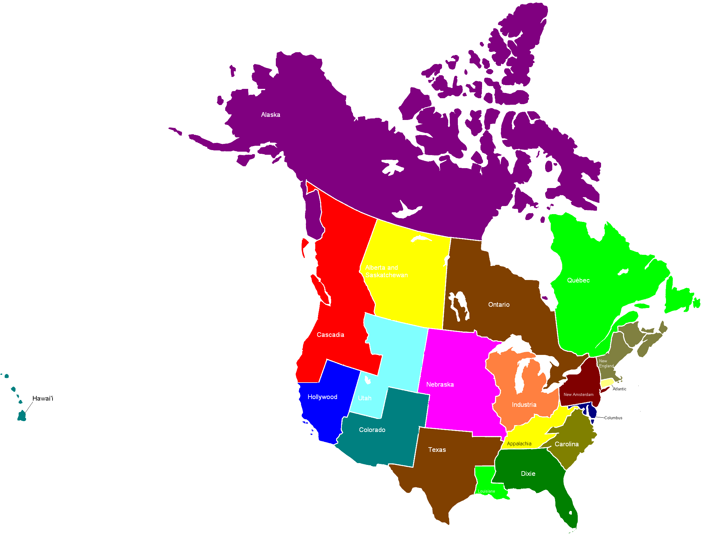 US And Canadian Provinces Alternate North America Maps Pinterest - United states and canada map
