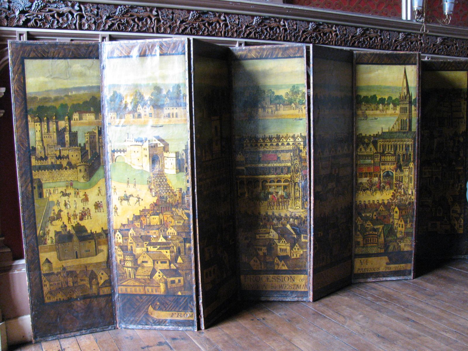 Edward VI's processional entry into the City of London in 1547. Copy after the original wall painting at Cowdray House, Sussex, now lost. D&DA-V&A