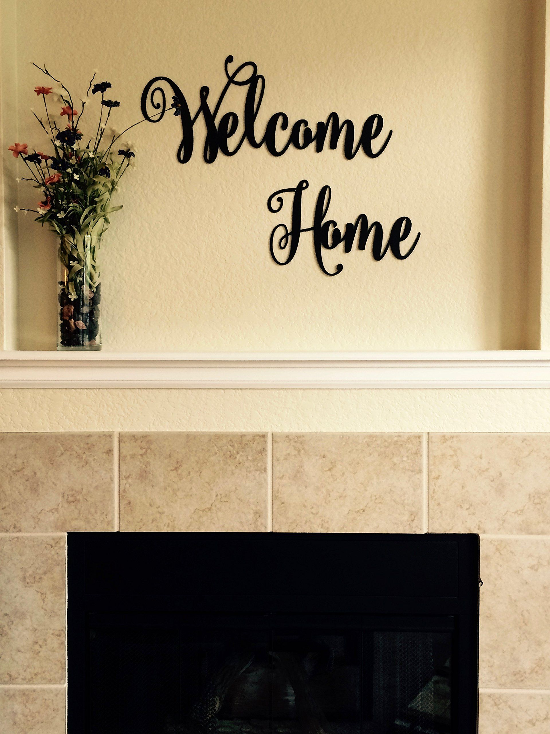 Welcome Home- Metal Lettering | Metal Wall Art | Cursive Text ...