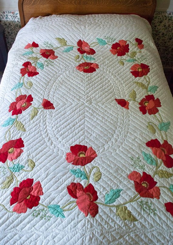 Vintage Applique Quilt Poppy Hand By Lovelylinensandmore