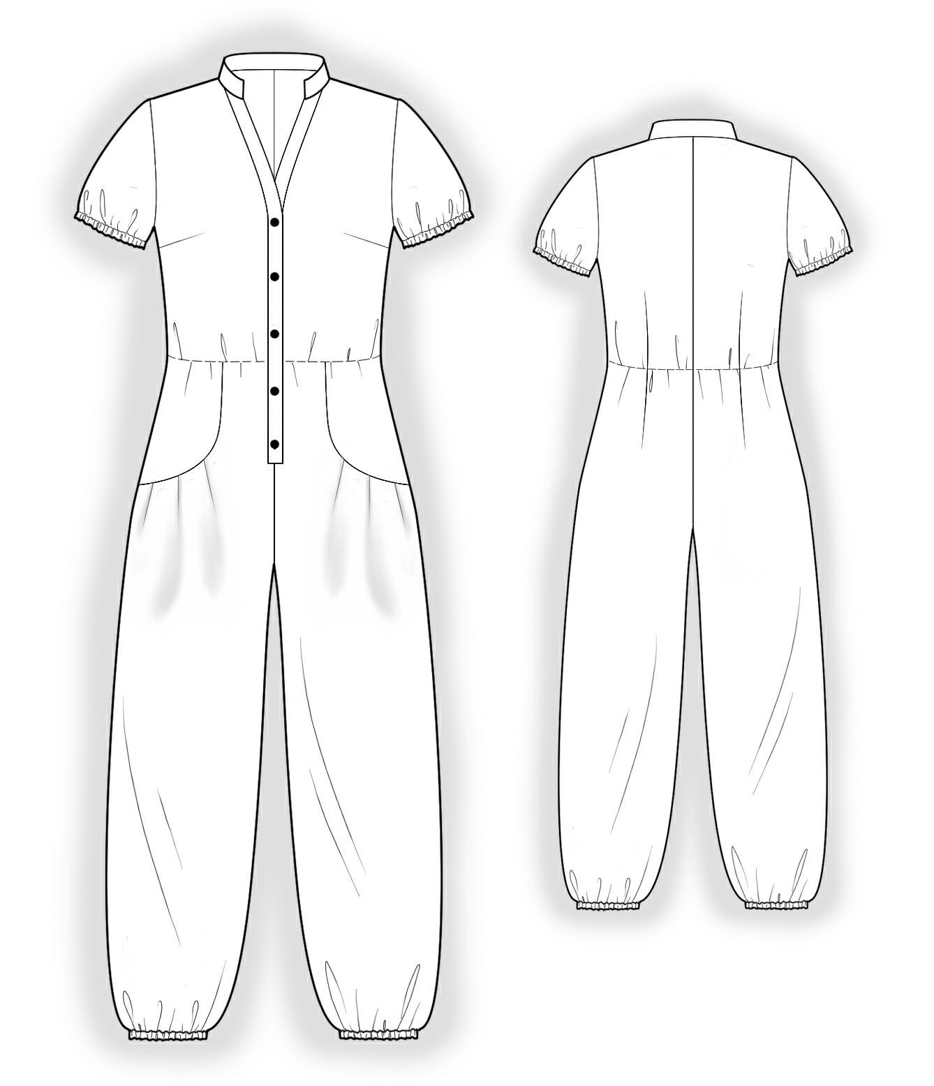 Jumpsuit With Decorative Pockets Sewing Pattern 4044