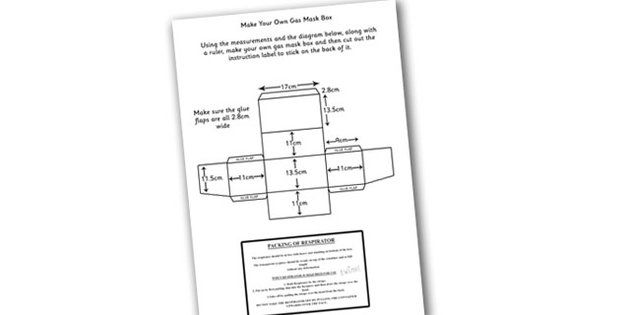 Word War Two Make Your Own Gas Mask Box Instructions and