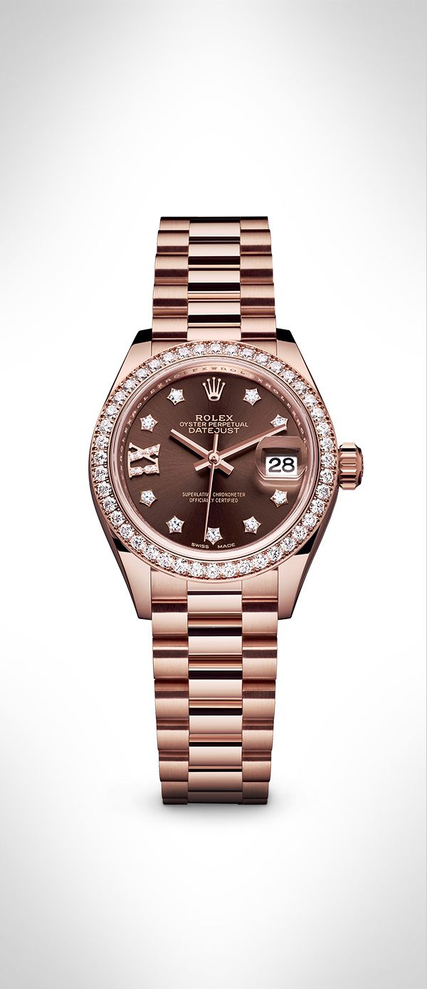 The Rolex Lady-Datejust 28 in 18 ct Everose gold with a diamond-set bezel, gem-set chocolate dial and President bracelet. This exquisite model demonstrates Rolex's unique expertise in the art of dial making. #RolexOfficial