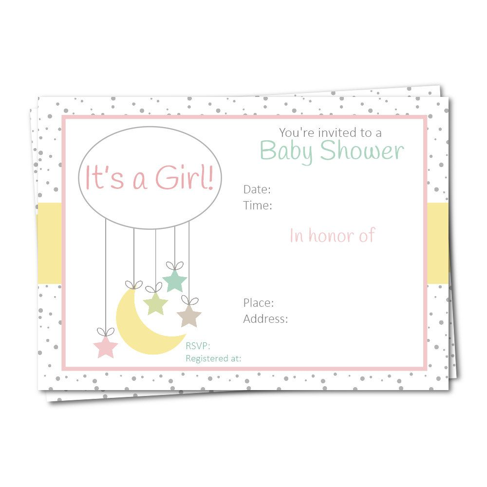moon and star baby shower invitation fill in invitation its a girl