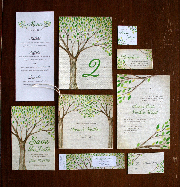 Diy printable wedding invitation tree branches via etsy
