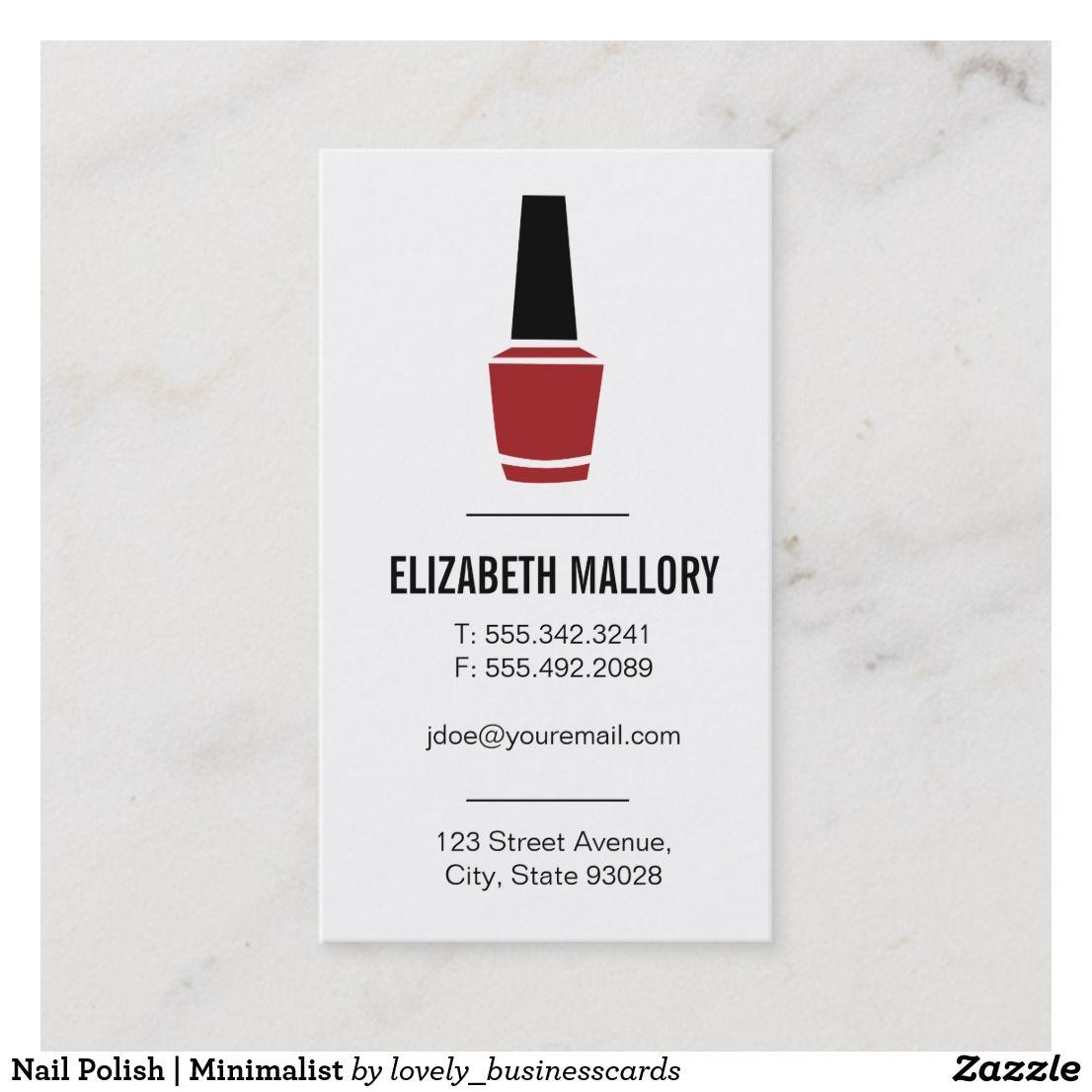 Nail Polish   Minimalist Business Card  #businesscards #businessowner #nailpolish #nails #manicure #nailsalon #nailtechnician #manicurist #manicuristlife #manicureproblems #beautysalon #nailpolishbottle #nailsalonowner #womensbeauty