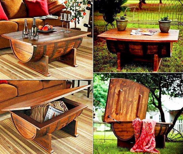 meuble original compos de vraies barriques tables basses coffres meuble original et coffre. Black Bedroom Furniture Sets. Home Design Ideas