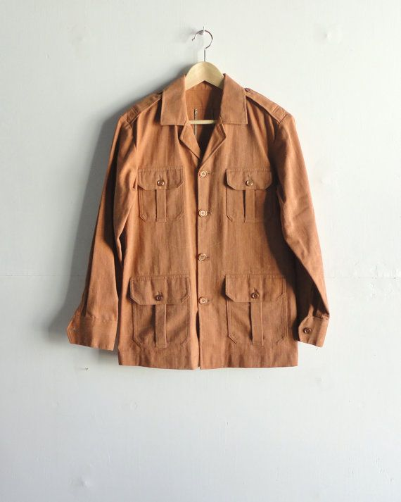 PIERRE CARDIN Peach Norfolk/Utility Jacket. Sz 36/38. by MadameSir