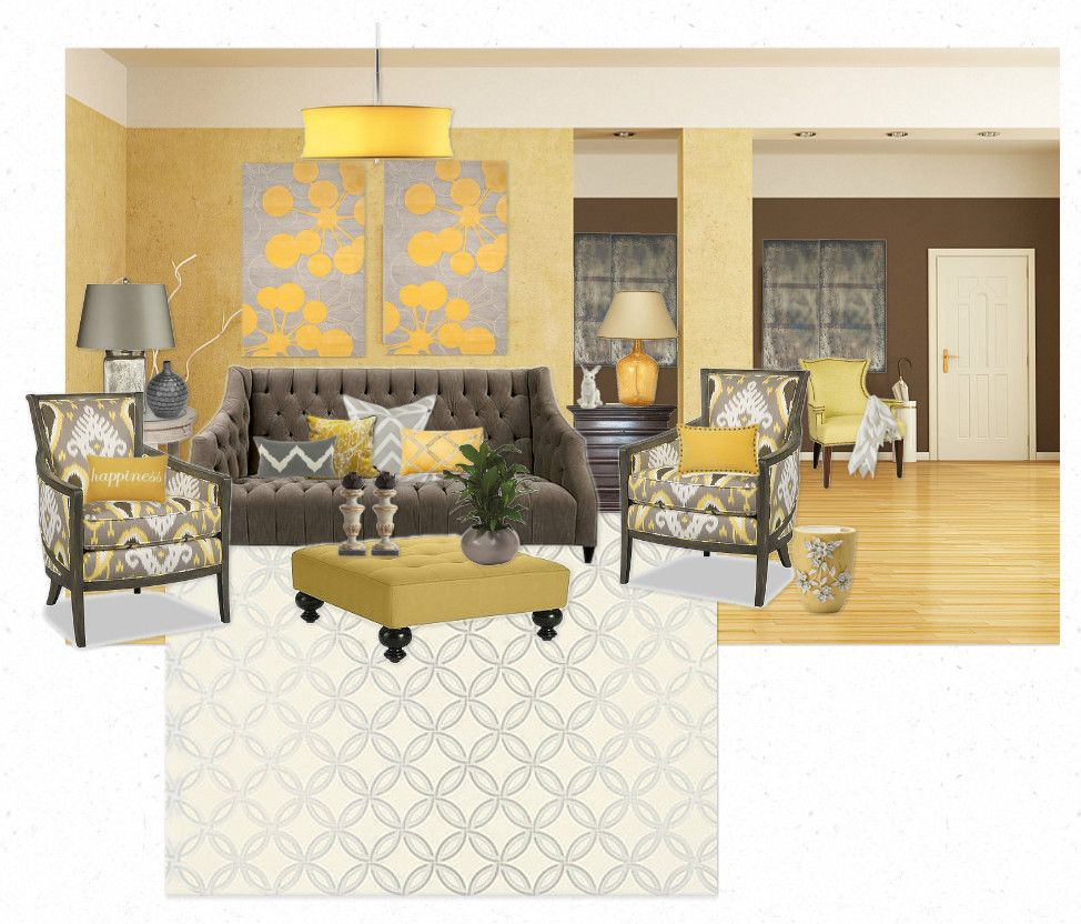 Yellow And Gray Transitional Living Room Transitional Decor Pinterest Transitional Living
