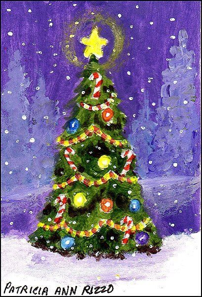 original aceo o christmas tree candy canes woods snow patricia ann rizzo