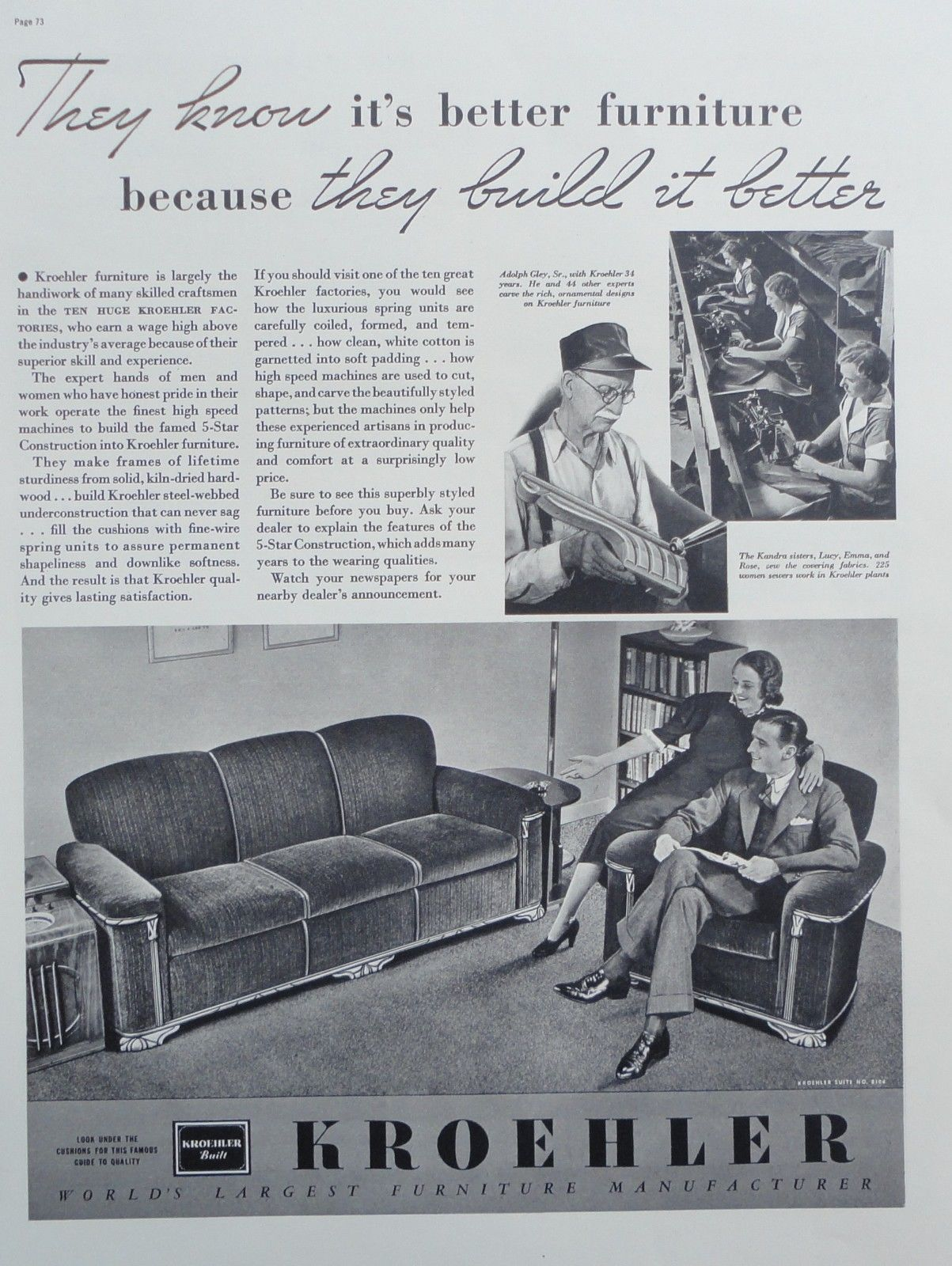 1937 Print Ad Kroehler Furniture Living Room Suite Production Ebay