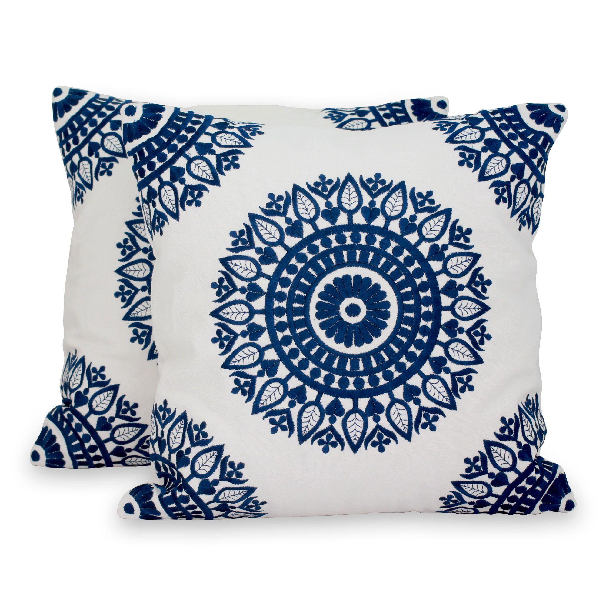 Cotton Cushion Covers Sapphire Blue Mandalas Pair Embroidered Throw Pillows White Cushion Covers Embroidered Pillow Covers