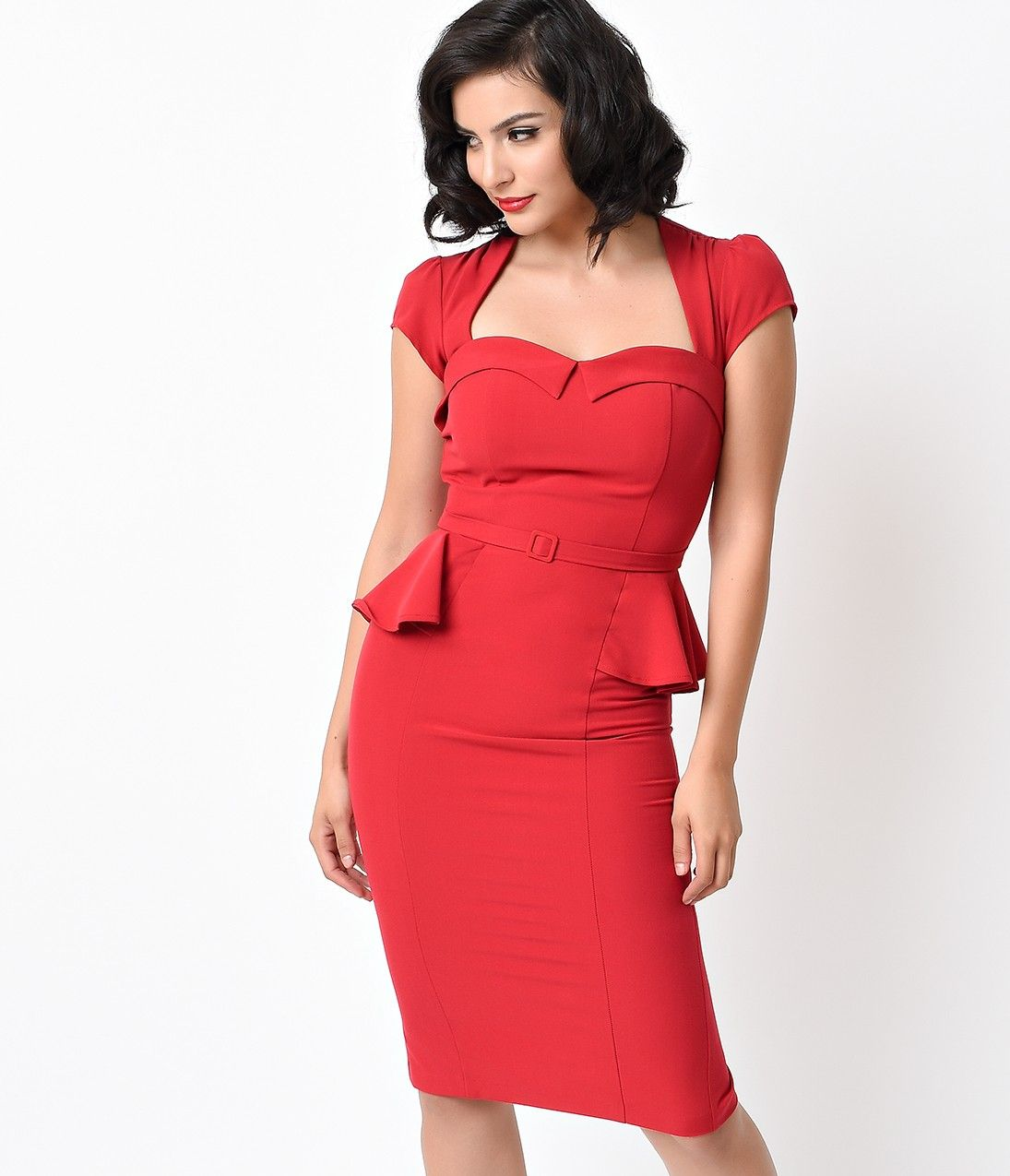 Stop Staring 1940s Style Red Bombshell Aury Peplum Wiggle Dress Kleider [ 1275 x 1095 Pixel ]