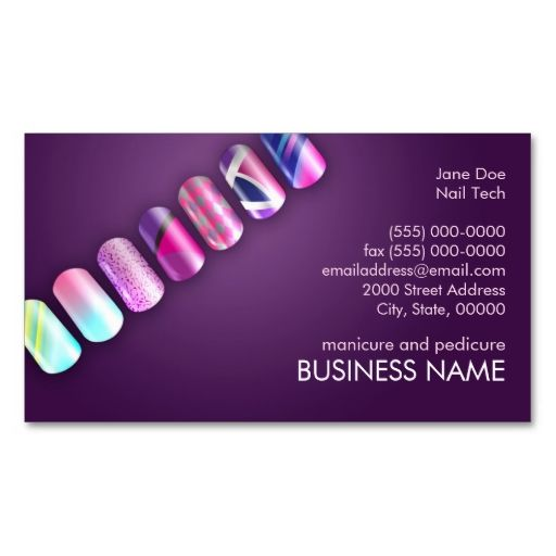 Nail Salon Business Card Glitter Blue Pink Zazzle Com Nail Salon Business Cards Salon Business Cards Nail Tech Business Cards