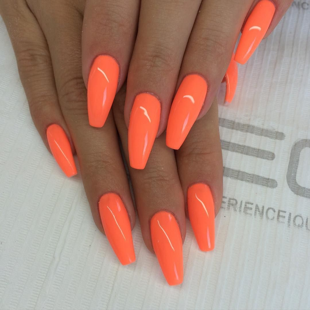 Orange Coffin Nails Acrylicsummernails Orange Acrylic Nails Fall Acrylic Nails Orange Nails