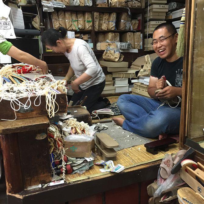Makig geta footwears @ Maruya  Footwear Shop in Shinagawa