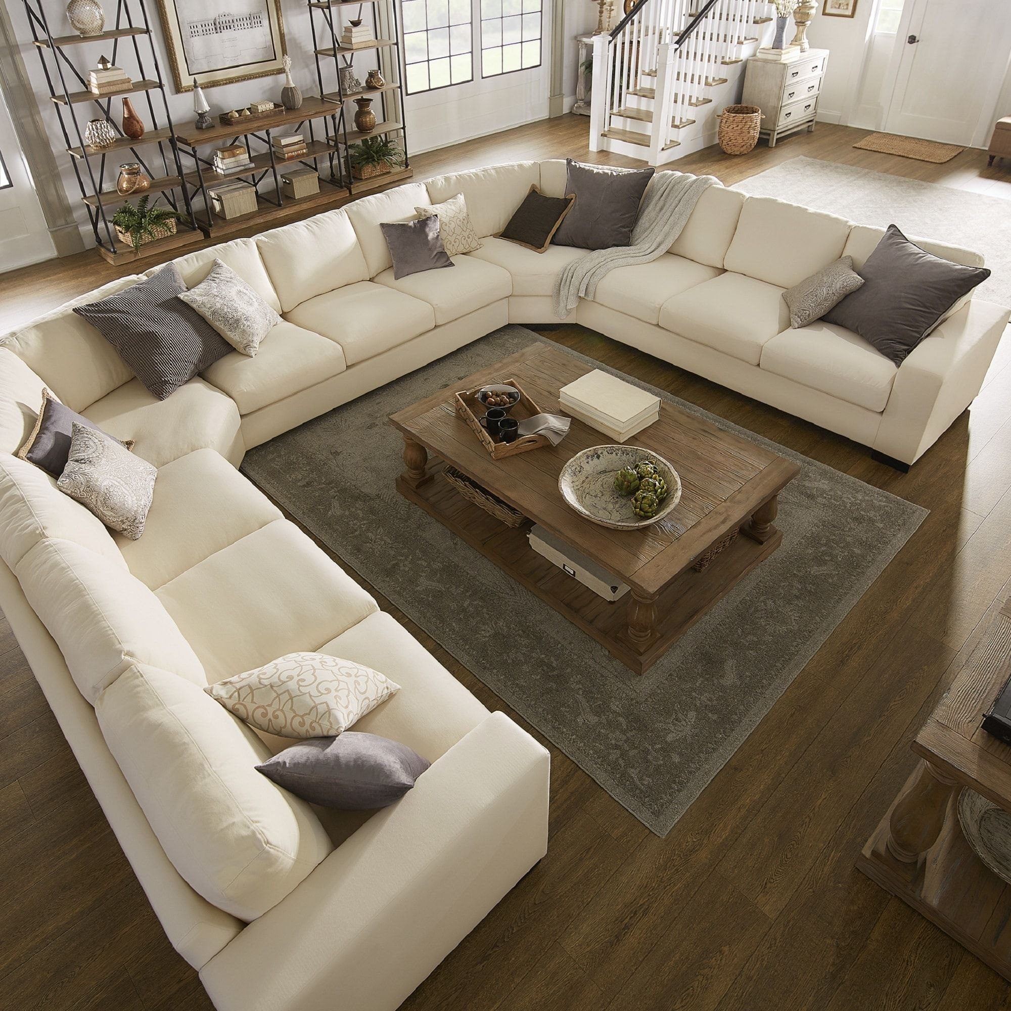 Lionel White Cotton Fabric Down-Filled U-Shaped Sectional ...