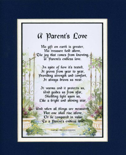 A Gift for a Parent. #137, (A Parent's Love) Touching 8x10 Poem ...