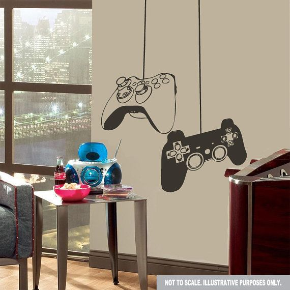 gaming game ps3 xbox controller wall decal sticker on etsy wall decals pinterest. Black Bedroom Furniture Sets. Home Design Ideas