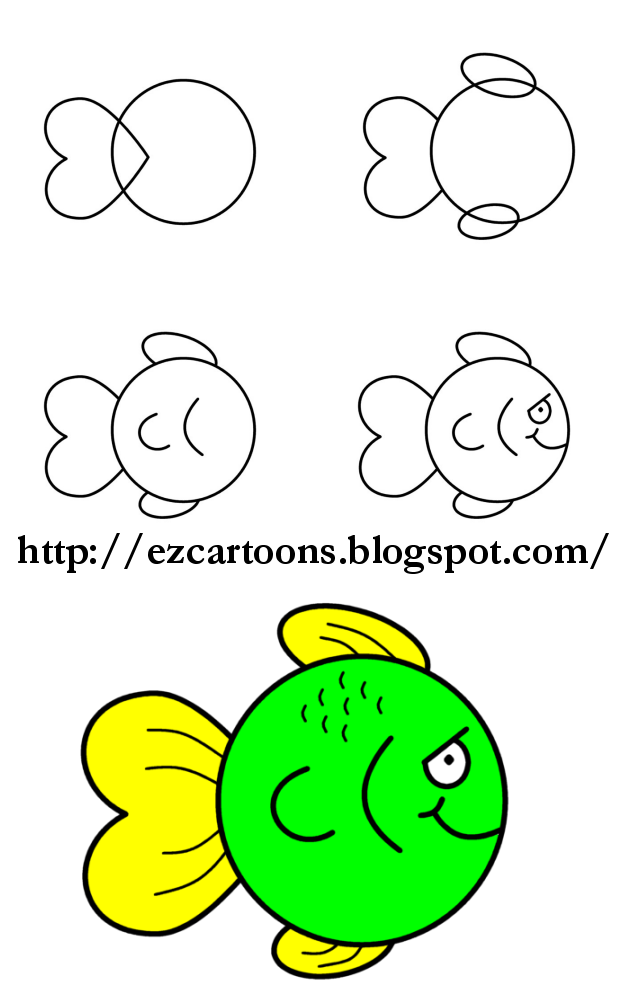 Easy To Draw Cartoons How To Draw A Fish Easy Drawings Easy Cartoon Drawings Cute Easy Drawings