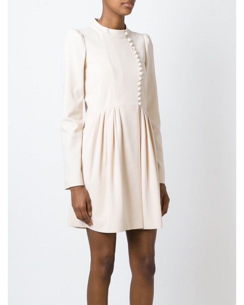 Chloé Beige Asymmetric Fastening Flared Dress
